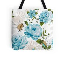 Beautiful blue roses pattern on a white background.  Tote Bag