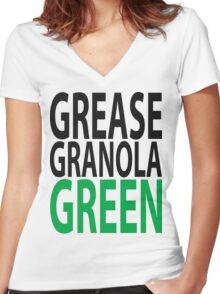 grease granola GREEN! Women's Fitted V-Neck T-Shirt