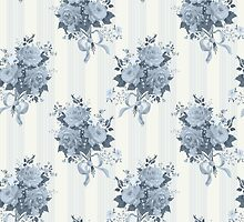 Vintage rose blue pattern by LourdelKaLou