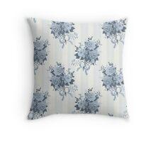 Vintage rose blue pattern Throw Pillow