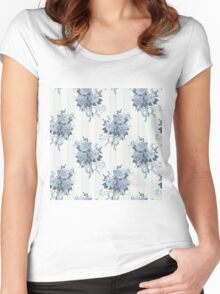 Vintage rose blue pattern Women's Fitted Scoop T-Shirt