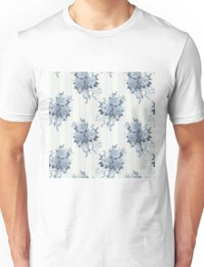 Vintage rose blue pattern Unisex T-Shirt