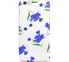Cornflowers drawn on a white background. iPhone Case/Skin