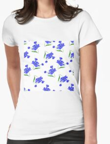 Cornflowers drawn on a white background. Womens Fitted T-Shirt