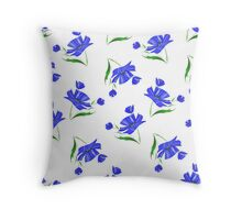 Cornflowers drawn on a white background. Throw Pillow