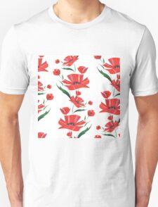 Stylized Poppy flowers illustration Unisex T-Shirt