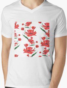 Stylized Poppy flowers illustration Mens V-Neck T-Shirt