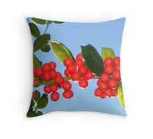 Holly Berries Throw Pillow