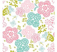 Floral seamless pattern on white background, sweet style Photographic Print