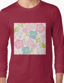 Floral seamless pattern on white background, sweet style Long Sleeve T-Shirt