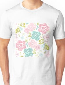 Floral seamless pattern on white background, sweet style Unisex T-Shirt