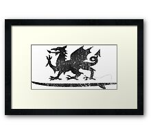 Welsh Dragon Cold Water Surfing on Surfboard Framed Print