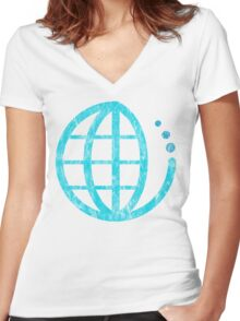 ecoecho : conserve water Women's Fitted V-Neck T-Shirt