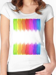 Striped hand drawn watercolor background. Bright colors. Watercolor composition for print. Women's Fitted Scoop T-Shirt