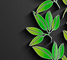 Black background with green abstract leaves by LourdelKaLou