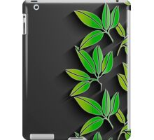 Black background with green abstract leaves iPad Case/Skin