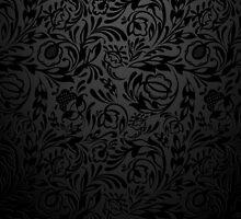 Black  floral wallpaper pattern. by LourdelKaLou