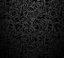 Black  floral wallpaper pattern. by LourdelKaLou