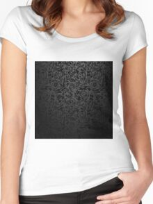 Black  floral wallpaper pattern. Women's Fitted Scoop T-Shirt