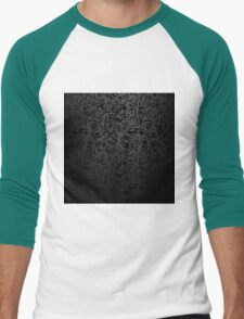 Black  floral wallpaper pattern. Men's Baseball ¾ T-Shirt