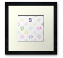 Black and white pattern in roses with contours.  Framed Print