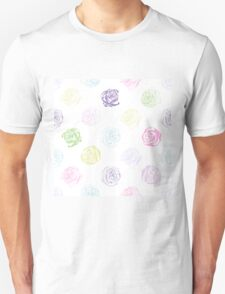 Black and white pattern in roses with contours.  Unisex T-Shirt