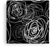 Seamless black rose pattern Canvas Print