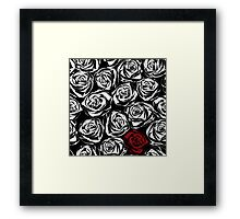 Seamless pattern with black roses flowers.  Framed Print