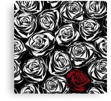 Seamless pattern with black roses flowers.  Canvas Print