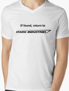 If found, return to Stark Industries Mens V-Neck T-Shirt