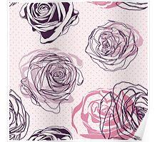 Seamless pink roses pattern. Elegant floral pattern Poster