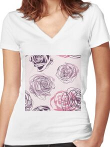 Seamless pink roses pattern. Elegant floral pattern Women's Fitted V-Neck T-Shirt