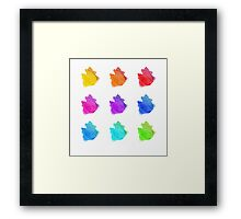 Abstract hand drawn watercolor blots.  Framed Print
