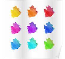 Abstract hand drawn watercolor blots.  Poster