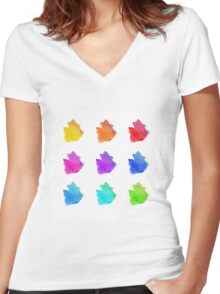Abstract hand drawn watercolor blots.  Women's Fitted V-Neck T-Shirt