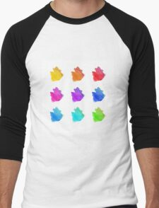Abstract hand drawn watercolor blots.  Men's Baseball ¾ T-Shirt
