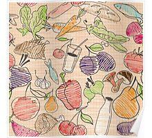 Hand drawn Food seamless pattern. Poster