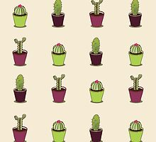 Cacti hand drawn seamless repeat pattern by LourdelKaLou