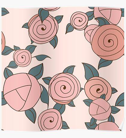 Seamless roses pattern. Vintage roses. Poster