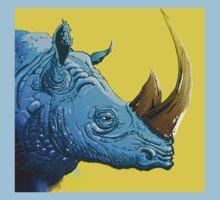 Blue Rhino on Yellow Background T-Shirt