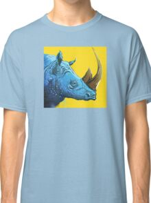 Blue Rhino on Yellow Background Classic T-Shirt