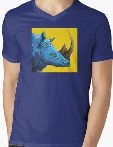 Blue Rhino on Yellow Background Mens V-Neck T-Shirt