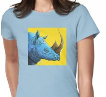 Blue Rhino on Yellow Background Womens Fitted T-Shirt