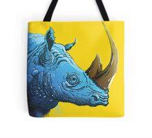 Blue Rhino on Yellow Background Tote Bag
