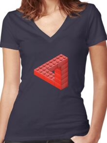 Escher Toy Bricks Women's Fitted V-Neck T-Shirt