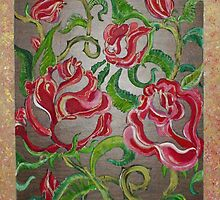 The Rose Garden #2(Painted Wood Carving)- by Robert Dye