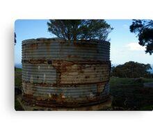 Rusty old rain water tank Canvas Print