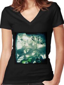 White lilies photograph Women's Fitted V-Neck T-Shirt