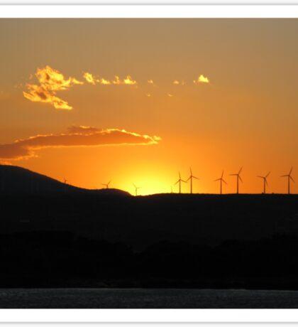Sunset wind turbine - Couché du soleil - Eoliènnes Sticker