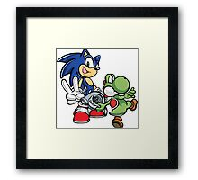 Boosted Sonic and Yoshi Framed Print
